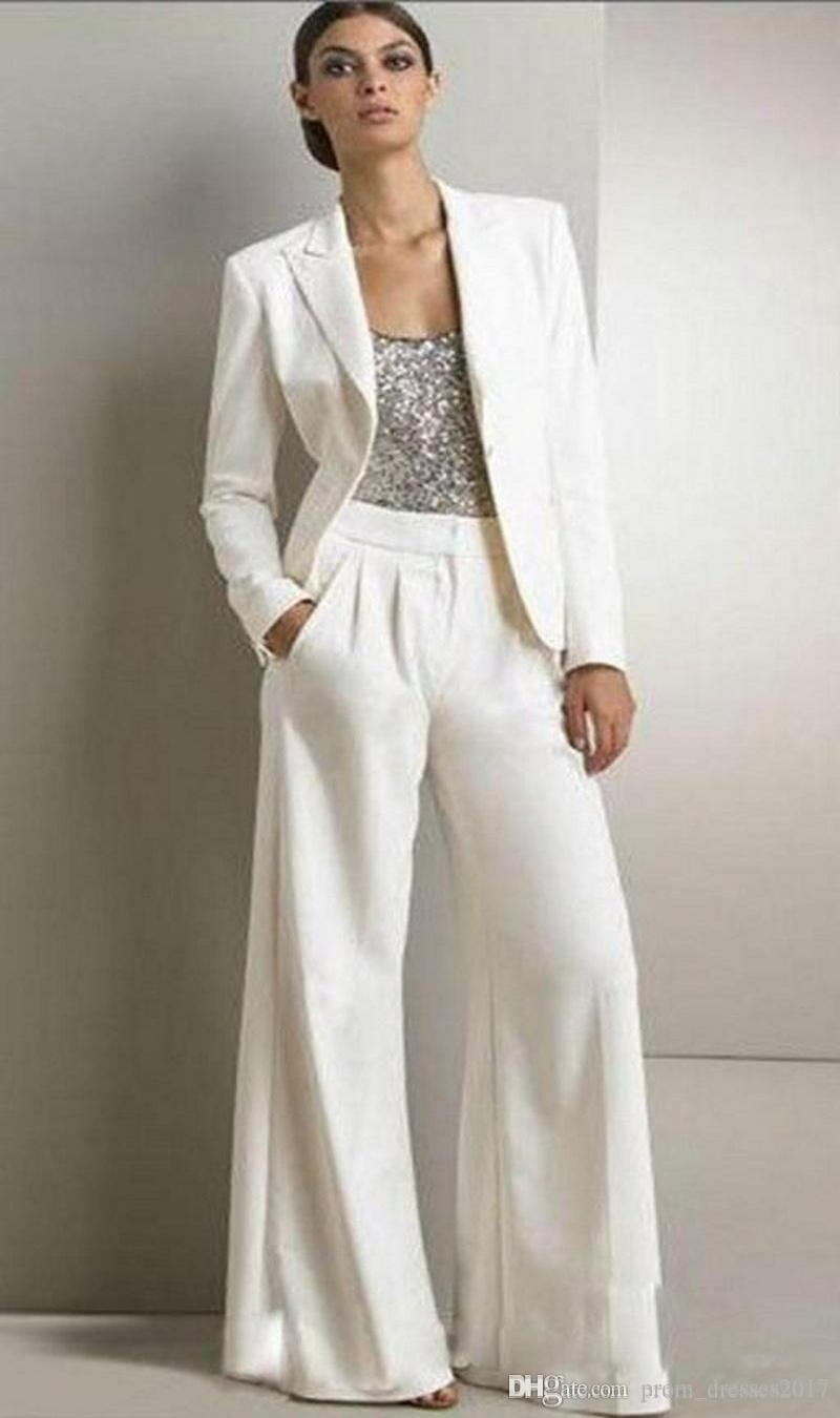 2pcs Formal Women Mother Ivory Pants Suits Mother of The Bride Pant Suits Office Business Lady Jacket For Wedding Party Bridal Evening Wear