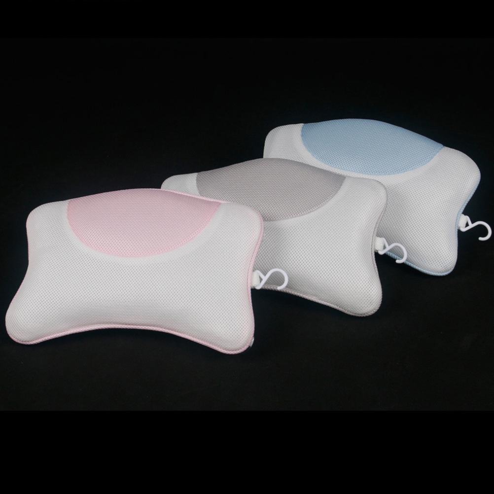 1PC 3D Mesh Cloth Banheira Pillow com Ventosas Descanso para Cabeça Spa Pillow Pescoço Ombro Suporte Pillow (Gray)
