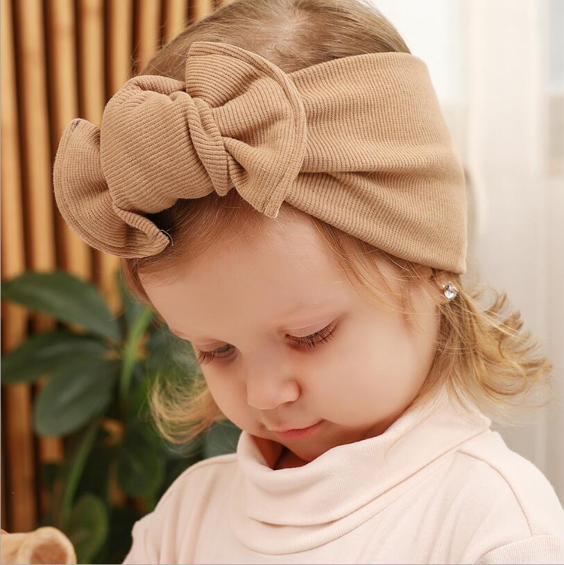 çocuk sonbahar ve kış giyim aksesuarları Saf pamuk saç aksesuarları geniş çocuk saç bandı yay şişman düğüm kaburga