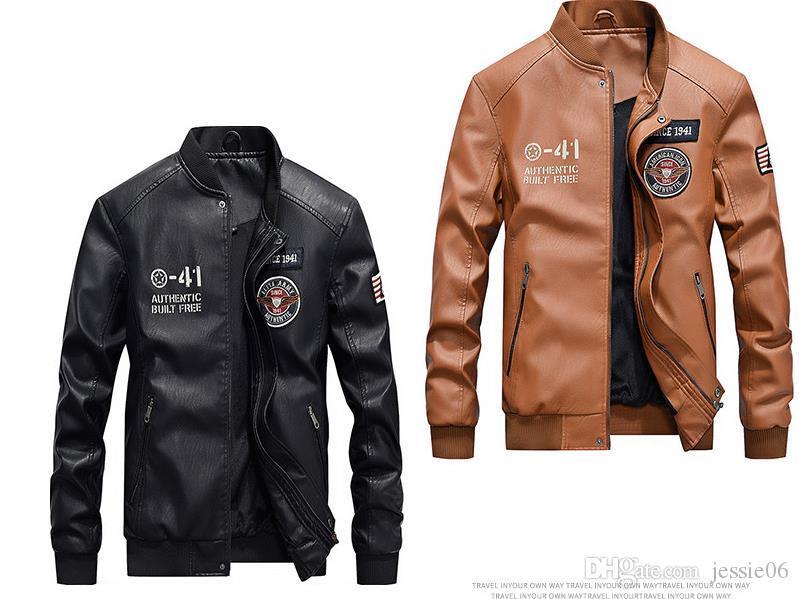 Men's Vintage Stand Collar Leather Jacket Motorcycle PU Faux Leather Outwear Autumn Winter Fleece Liner Coat M-XXXXL