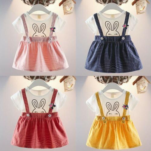 Été mignon bowknot rayé Cartoon coton enfants bébé bébé tout-petits filles lapin Robe Outfit Ensemble Costume Party 3-24M Costume