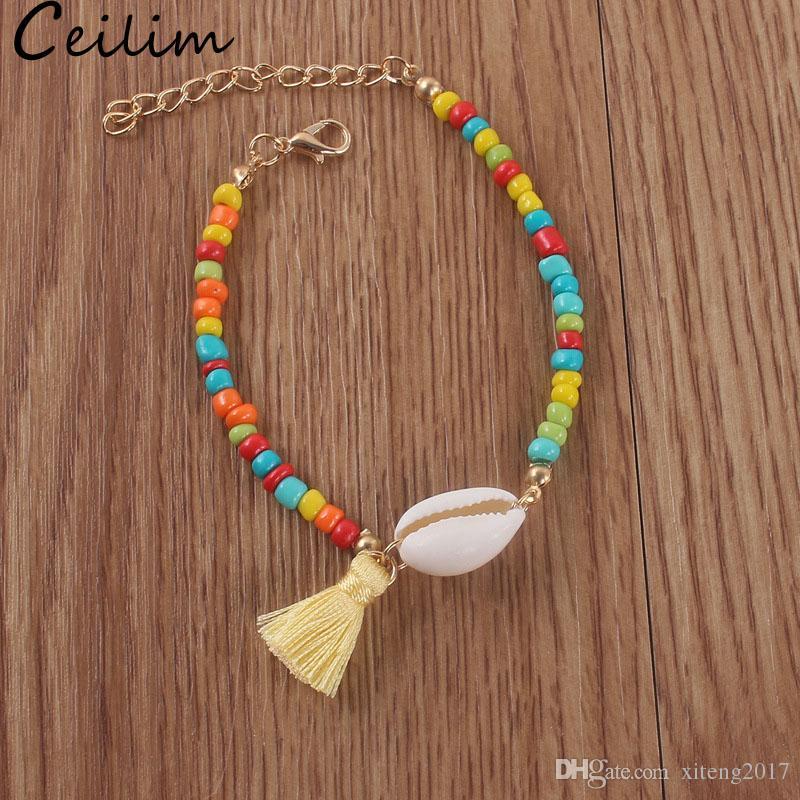 여러 가지 빛깔의 보헤미아 셸 술 팔찌 민족 다채로운 작은 Tassels 구슬 여성용 구슬 구슬 체인 팔찌 발 보석 Accessorie