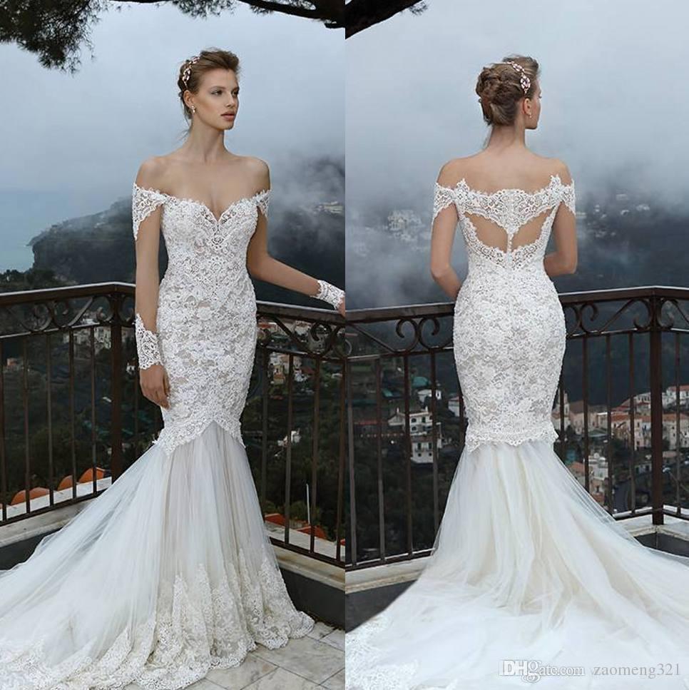 Vestidos de casamento elegantes lace sereia com sheer mangas compridas fora do ombro vestidos nupciais varrer treinar tulle trompete boêmia vestido de noiva