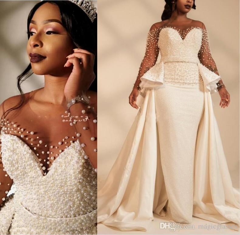 2020 Африканские Русалка Плюс Размер Свадебные Платья Оверкинг Жемчужина с Длинным Рукавом и Длинным Рукавом Свадебное Платье