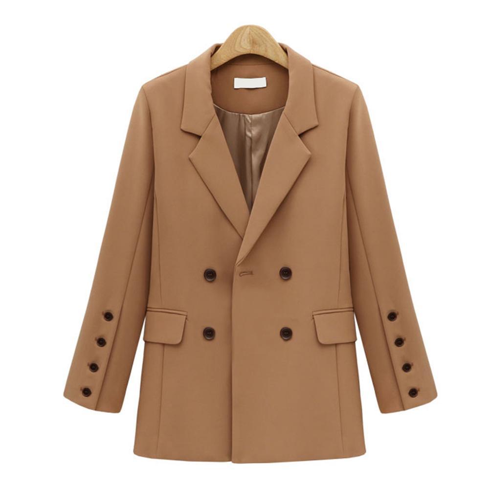 Осень зима костюм блейзер женщины 2019 Новый повседневная двубортный карман куртки элегантный с длинным рукавом блейзер верхняя одежда для дам