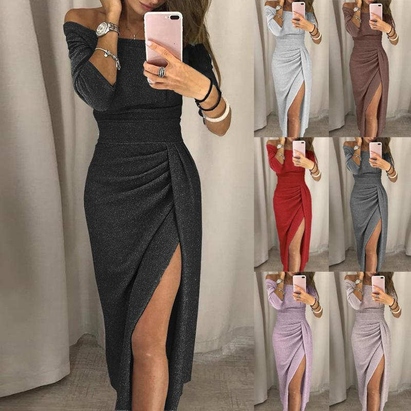Dress For Women Sexy Off Shoulder High Slit Bodycon Women'S Summer Sundress Fashion ELegant Evening Party Dresses Jurken