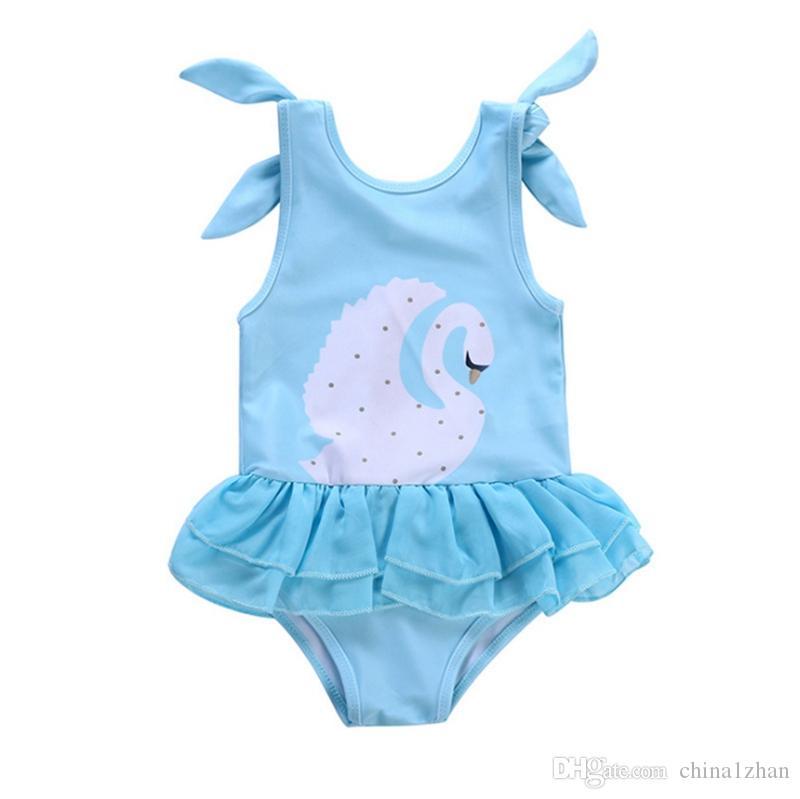 Bebés Meninas Swimwear Swan recém-nascido Swimsuit One Piece Suspender roupa dos miúdos Bikini Verão de Natação Moda Costumes frete grátis DHW2466