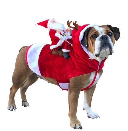 Christmas Dog Clothes Santa Dog Costumes Holiday Party Dressing up Clothing for Smal Medium Large Dogs Funny Pet Outfit Riding Xmas Clothes