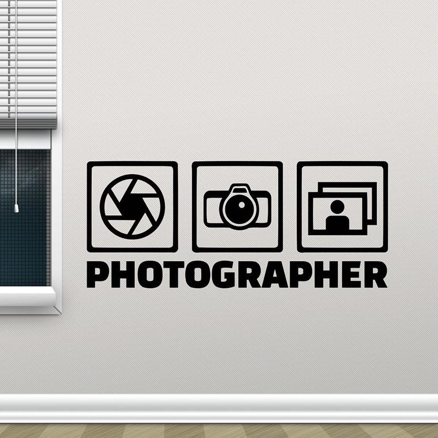Фотограф Наклейка на стену Photo Studio Wall Window Виниловые наклейки камеры Декор Плакат Съемные Home Decor наклейки обоев