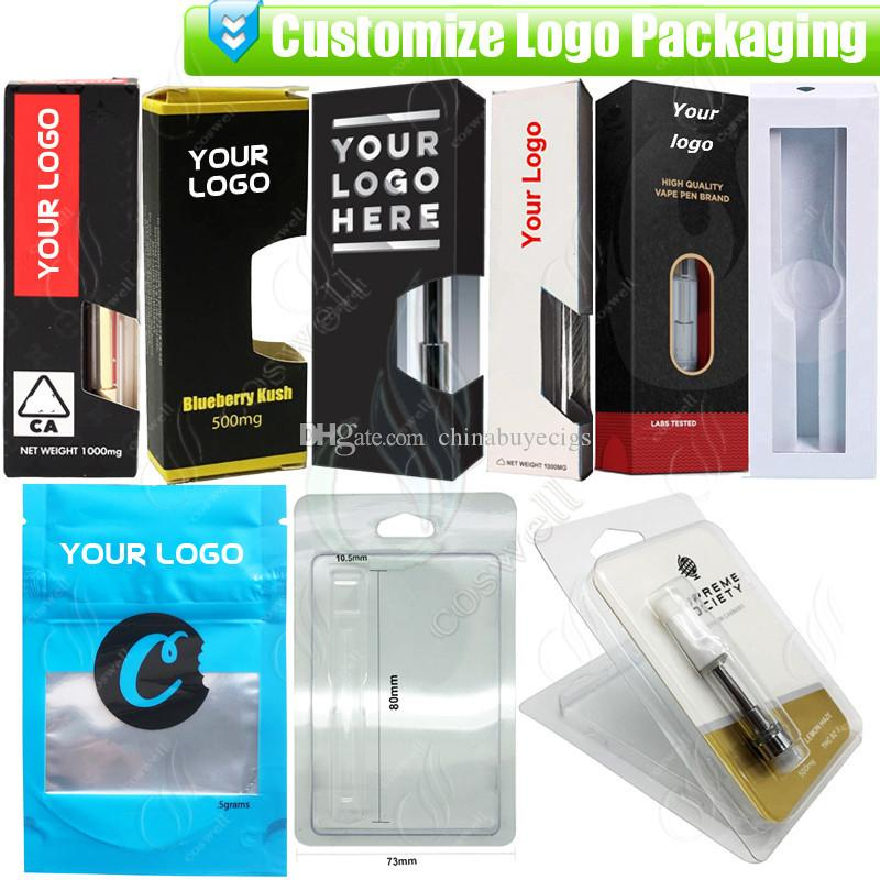 Custom Packaging for Thick Oil Vapes Cartridges OEM Design Customize Paper Gift Box Blister Package Bags e cigs Vaporizers Atomizer Service