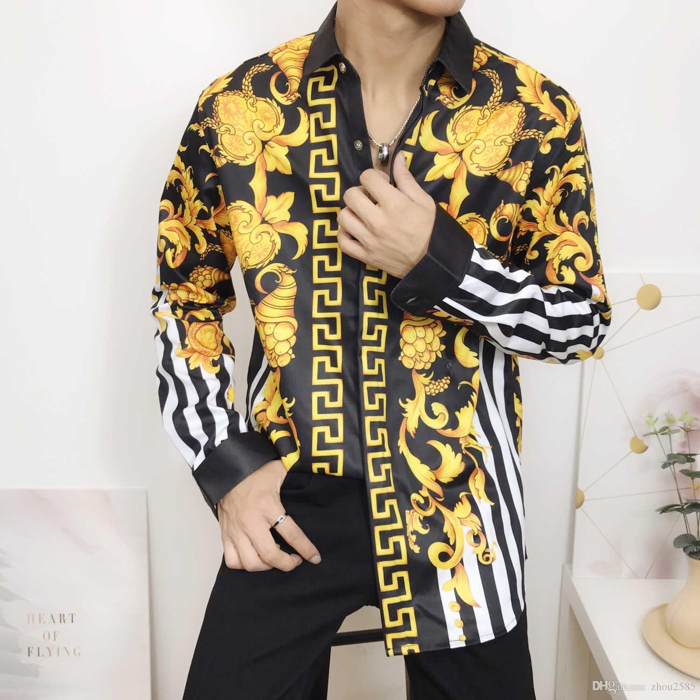 FF 2019 Camicie da uomo nuove Camicie casual da uomo d'affari Camicie eleganti da uomo Camicie a maniche lunghe con maniche lunghe Medusa M-2XL