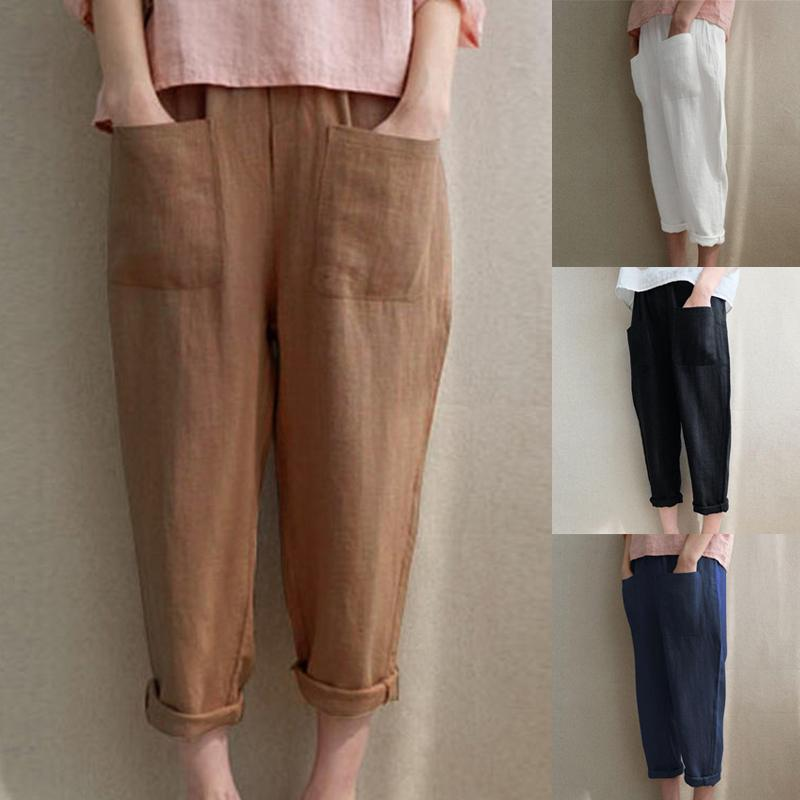 Summer Joggers Woman Cotton Linen Pants Plus Loose Casual Trousers Female