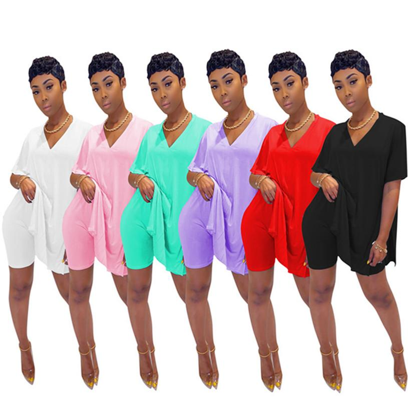 Femmes concepteur Ensemble 2 pièces short survêtement T-shirt manches courtes fendu simple pull-over de couleur unie S-2XL chemises capris Survêtement 3060
