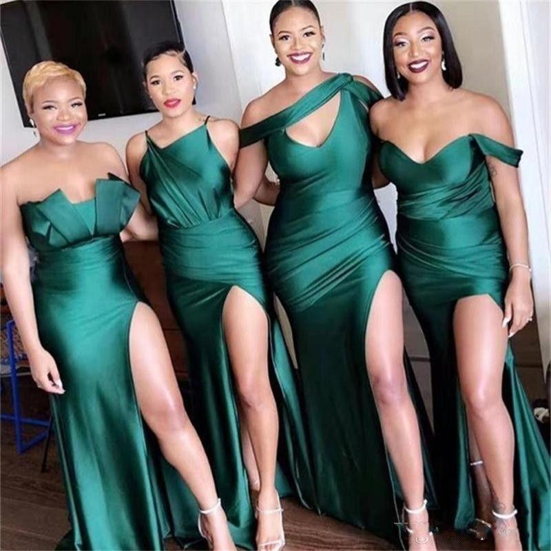 2020 Смешанные стили Русалка невесты платья плюс размер Side Split Off плеча Свадебные платья партии Vestidos De Fiesta дева Hohor BM0199