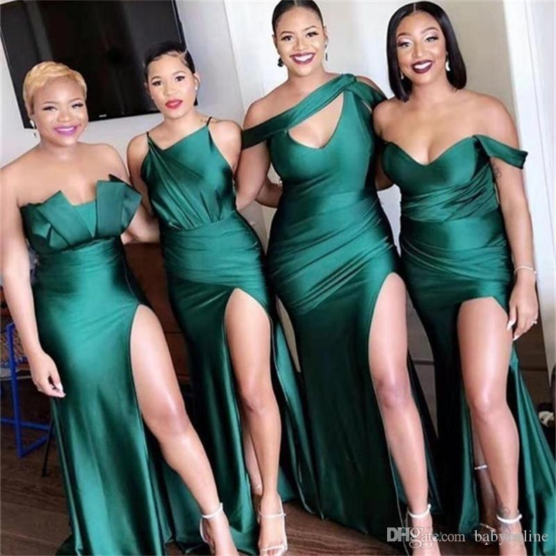 2020 Karışık Stiller Hohor BM0199 Of Mermaid Gelinlik Modelleri Plus Size Yan Bölünmüş Kapalı Omuz Düğün Elbise vestidos de Fiesta Hizmetçi