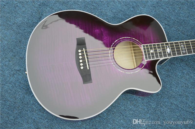 Custom Factory Top Fichte Massiv Retro-Gitarren-Körper Akustikgitarre mit Fishman Pickup Farbe Lila, kundenspezifische Farbe / Micro-Aufkleber