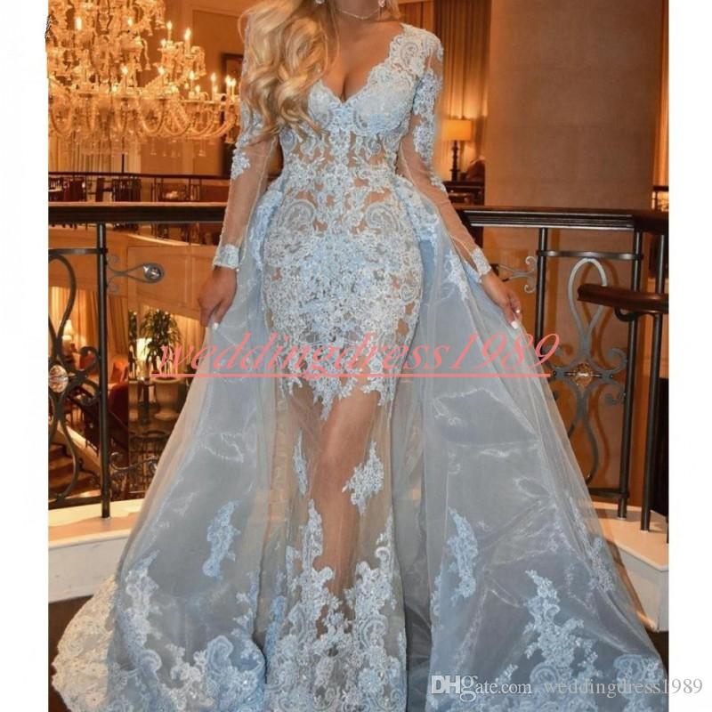 Beautiful V-Neck Lace Prom Dresses Light Blue Applique Long Sleeve African Style Party Evening Dresses Gowns Special Occasion Robe De Soiree