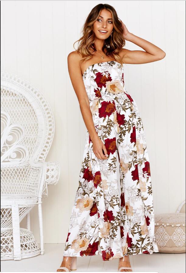 Kolsuz Backless tulum Moda Bayan Tam Boy Giyim Yaz Çiçek Baskılı Tulumlar Seksi Straplez