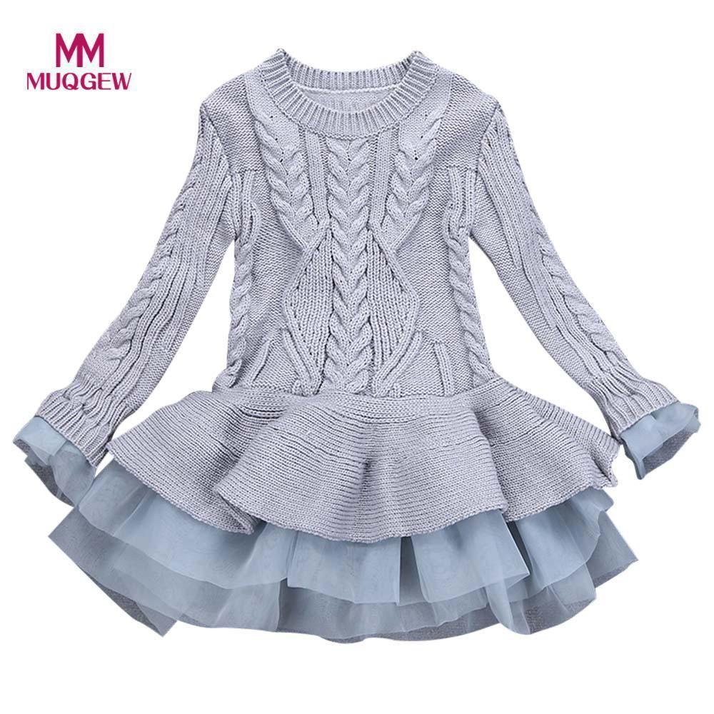 Muqgew Kinder Kleid Mädchen Strickpullover Winter Pullover Häkeln Tutu Kleider Tops Kleidung Mode Feste Warme Baby Mädchen Kleid J190505