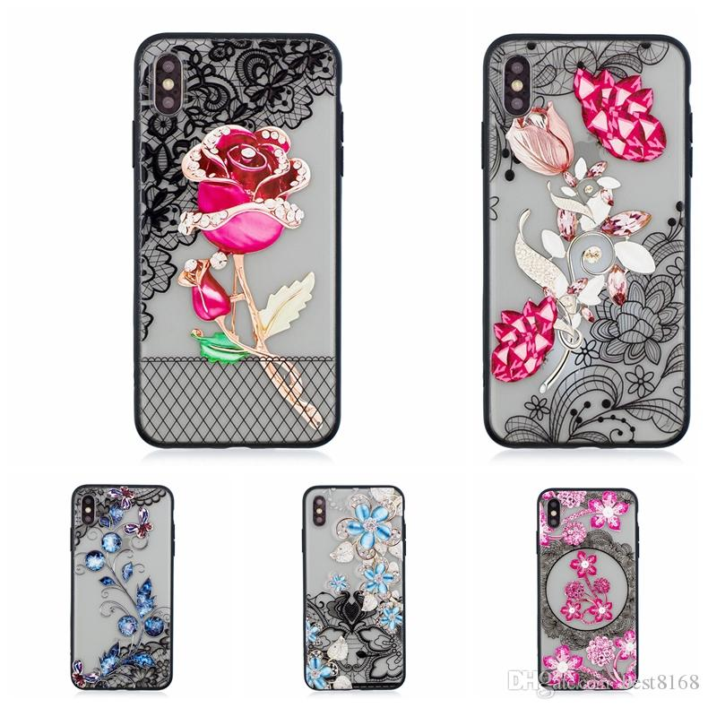Bling Diamond Flower Hard PC+TPU Case For Iphone 11 Pro XS MAX XR X 7 6 Galaxy S10 S10e S9 Note9 Lace Floral Paisley Henna Rose Phone Cover