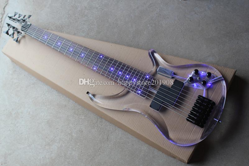 Nuovo Custom Factory 7 corde acrilico Body Electric Bass Guitar con Active Circuit, la luce blu, hardware nero, offrire personalizzare