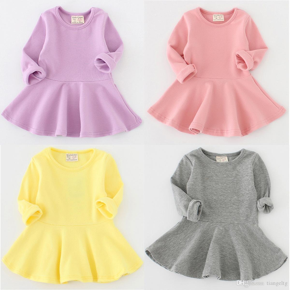 طفل الفتيات الصلبة اللباس 7 تصميم موجز الحلوى اللون طويل الأكمام القطن يتناسب اللباس الاطفال ملابس الفتيات ملابس 9M-2T 04