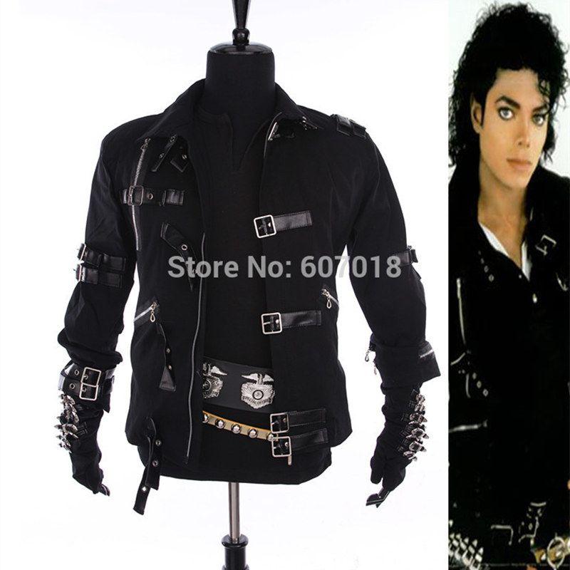 نادر MJ مايكل جاكسون سترة من القطن الأسود BAD ضئيلة زي ملابس للرجل أعشق نجوم