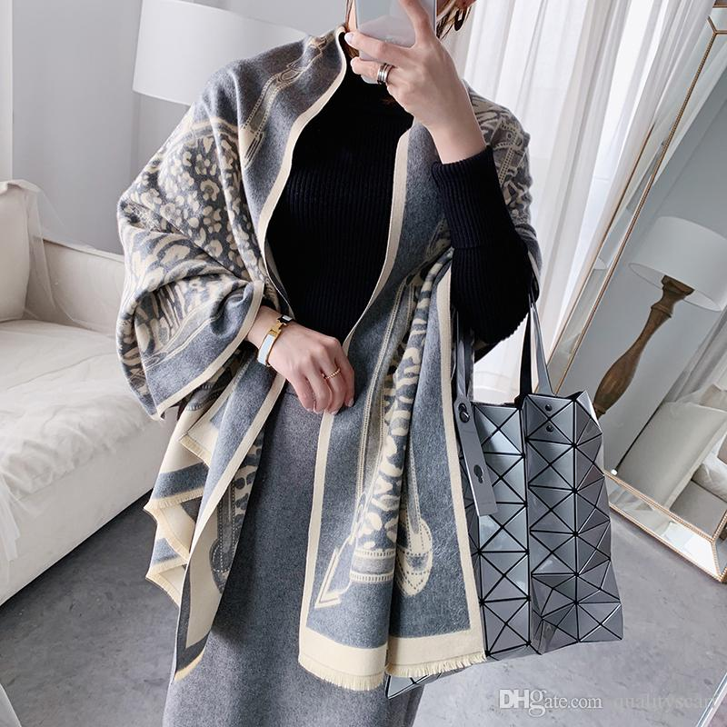 Oversize Double Side Scarf Winter Faux Cashmere Poncho Women Solid Female Long Sleeves Wrap Vintage Shawl