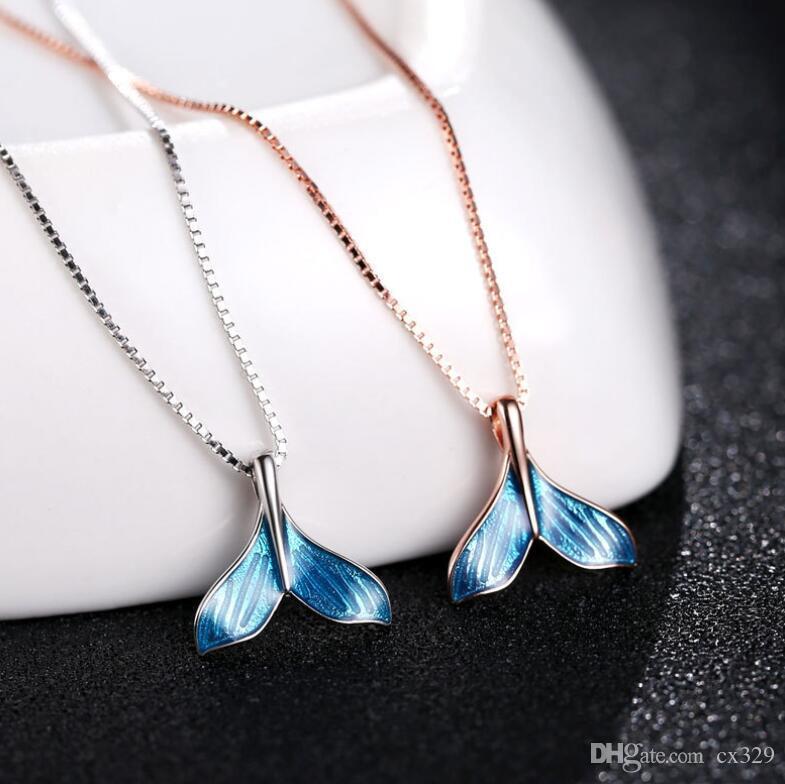 s925 Дельфин рыбий хвост стерлингового серебра ожерелье темперамент Дикий ключицы ожерелье женщин