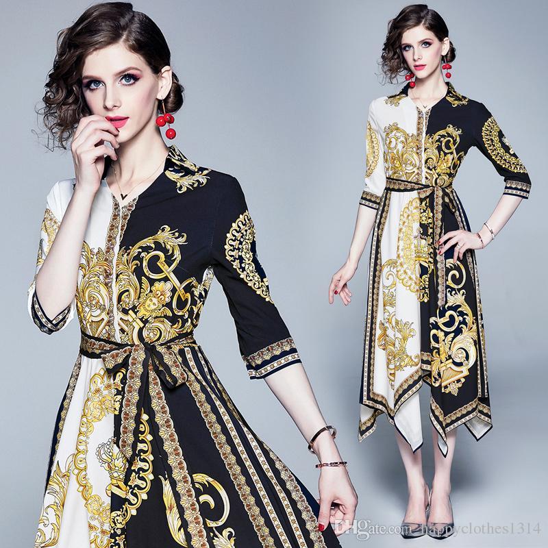 Nouvelle piste florale vintage de femmes Imprimer Lapel Neck Elegant A-ligne Robe asymétrique Taille Plus Bureau Sexy Lady Slim Party robes de soirée
