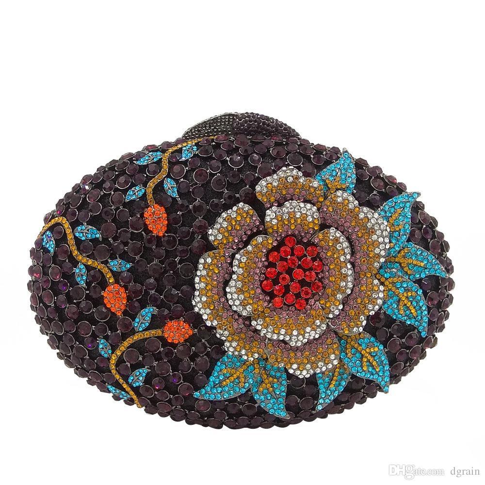 Dgrain Mehrfarbenkristallabendtasche Rosen-Blumen-Feiertags-Partei-Kupplungs-Geldbeutel-Kristalltasche Stylish Tageskupplungen Prom Damen Handtasche
