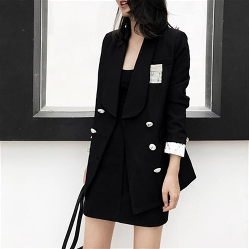 Frauenanzüge Blazer Mode Weibliche Jacke Mantel Frauen Frühling High-End Doppelrei Breaked Black Professional Anzug