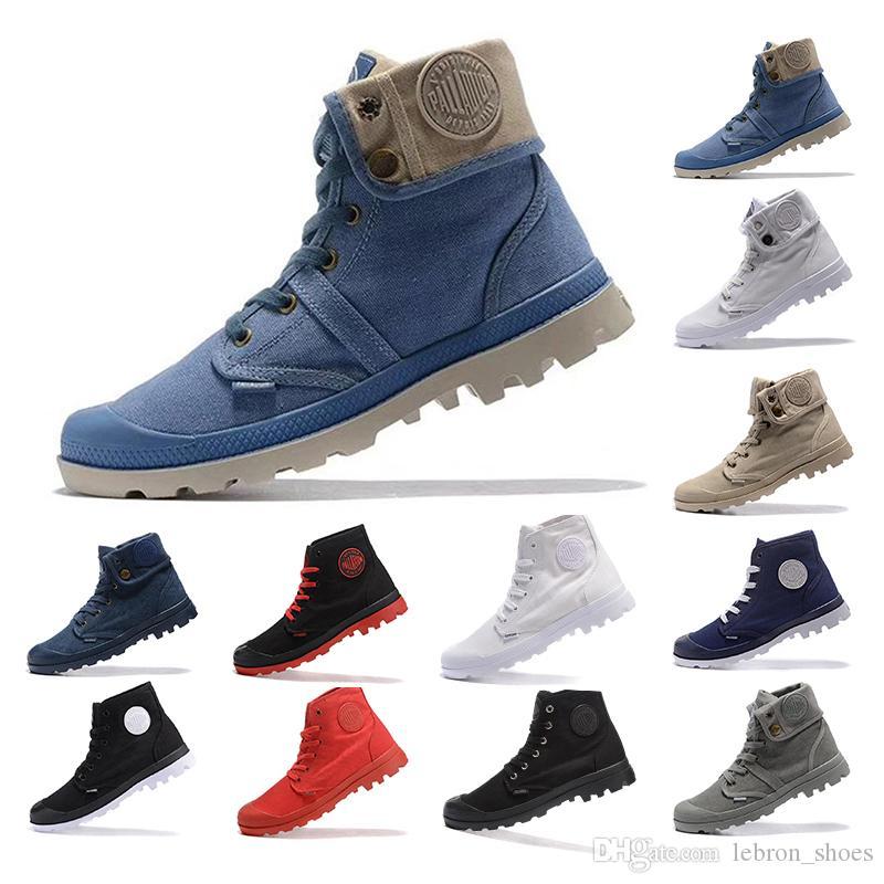 2019 البلاديوم تنفس أحذية الكاحل أحذية للرجال النساء الثلاثي أسود أبيض رمادي أزرق الدينيم رياضة الأزياء قماش عارضة الأحذية حجم 35-45