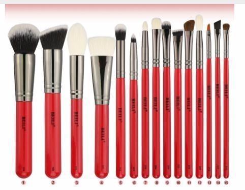 15pcs maquillage pinceaux poudre de fard à paupières cosmétique maquillage set de pinceau cheveux naturels sourcils fondation professionnelle poignée rouge