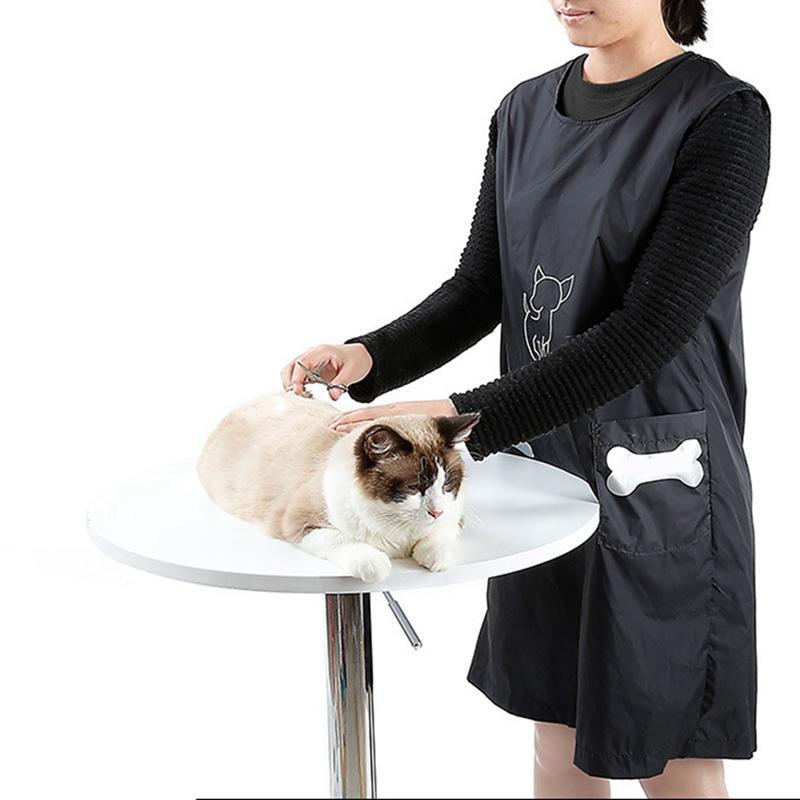 Pet Shop Одежда Косметолог Общая Anti-палка волосы Уход Фартук водонепроницаемый Cat собака купальный костюм без рукавов с Карманой ТОЙ