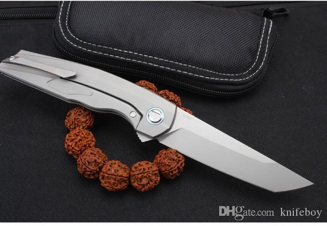 expédition rapide New Flipper couteau pliant lame M390 Tanto TC4 Poignée en alliage de titane roulement à billes extérieur Camping EDC Pocket Couteaux pliants