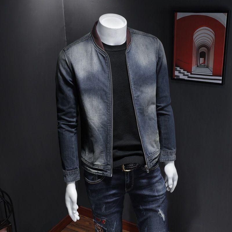 LwebV Yaka erkek Moda Butik Denim H06153 Beyzbol Yaka Denim Ceket Beyzbol Erkek Moda Butik Fermuar Fermuar Ceket H06153