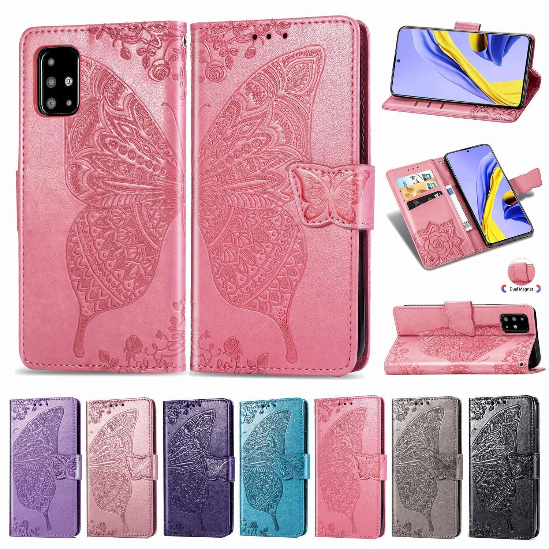 Handphone couverture de cas pour Samsung Galaxy A71 en cuir PU avec carte Wallet Porte-Emboseed Convex Fleur papillon (Modèle: A71)