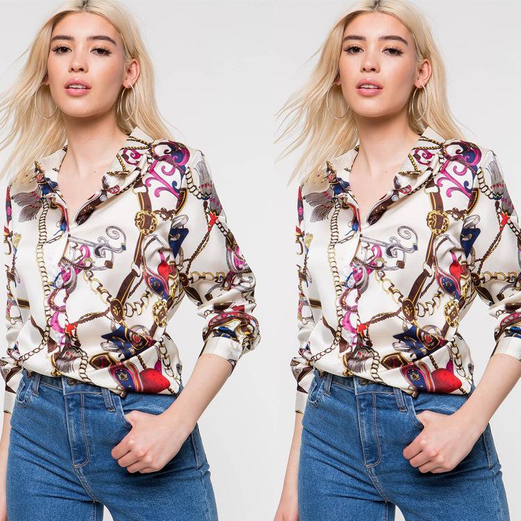 Impreso de la solapa de la cadena de impresión camiseta de manga larga de las mujeres remata la blusa S-XL