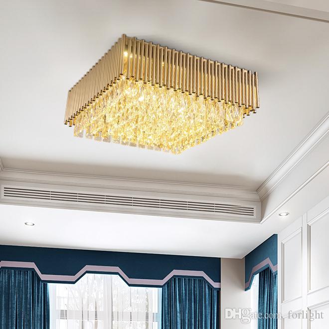 Nouveau lustres en cristal affleurant de luxe design lumière éclairage moderne lustre européen carré lampe de plafond led pour chambre salle d'étude
