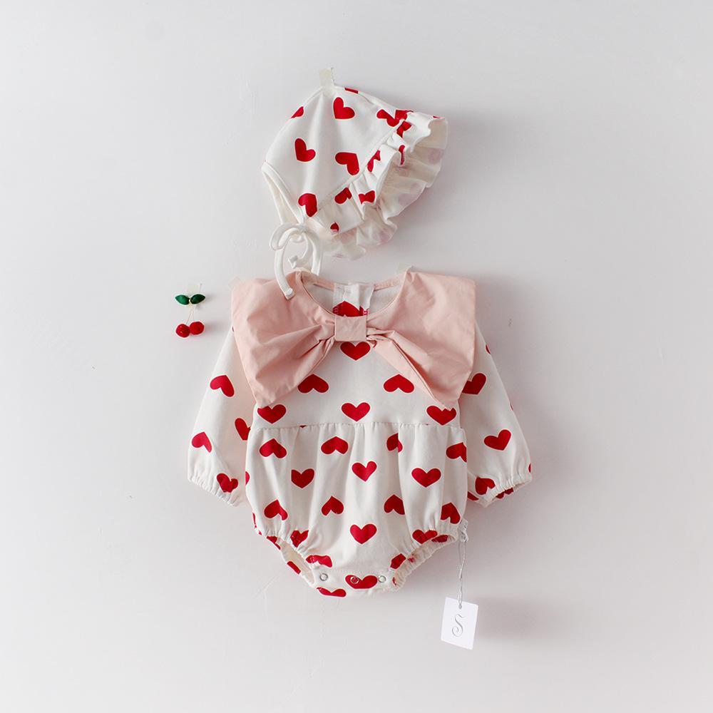 """في فصل الربيع ملابس الفتيات الصغيرات """"رومبر لونغ كم"""" حب القلب رومبر """" + قبعة 100% ملابس فتاة القطن 0-2 تي"""