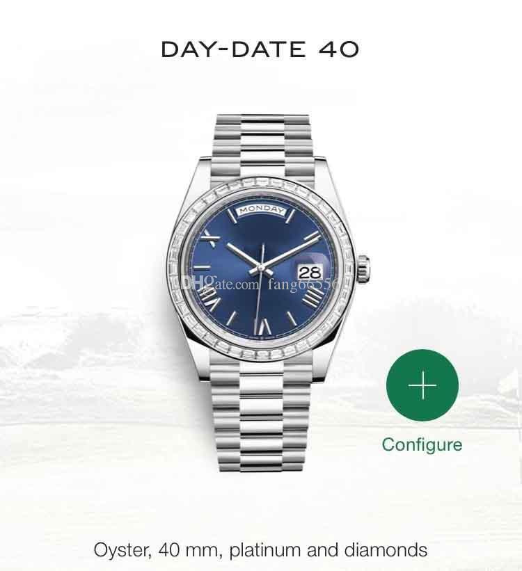 Горячая высокое качество мужская бриллиантовое кольцо 40 мм циферблат автоматика нержавеющая сталь 316L группа топ сапфир лучшие продажи бесплатная доставка часы