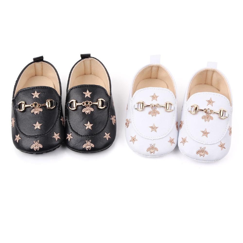 Chaussures bébé garçon nouveau-né doux Sole Bee Etoiles Chaussures de sport en cuir tout-petits Mocassins First Walker 0-18Months