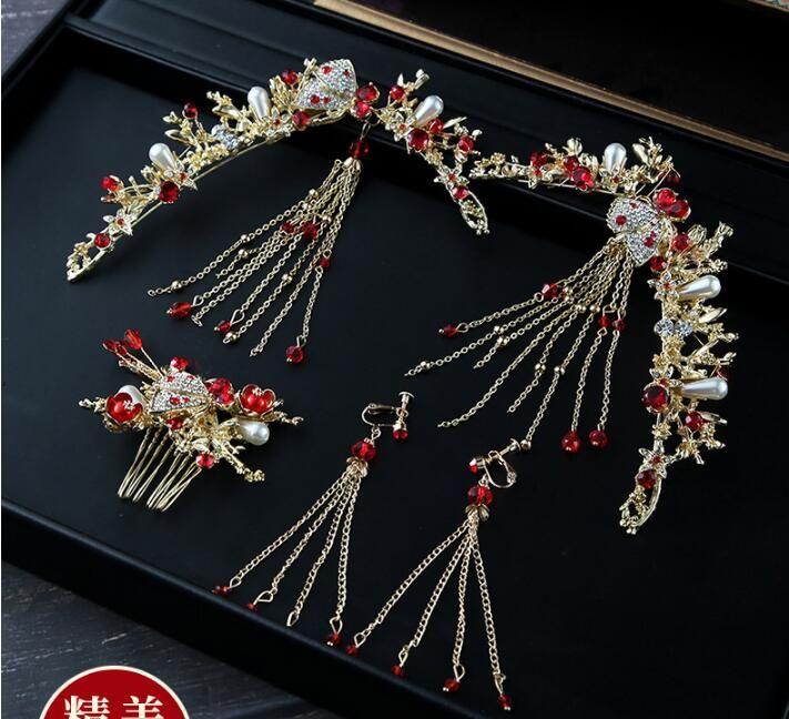 고대의 웨딩 드레스 중국 스타일의 술 크리스탈 라인 석 헤어 보석 2019 새로운 패션 신부 진주 머리 장식