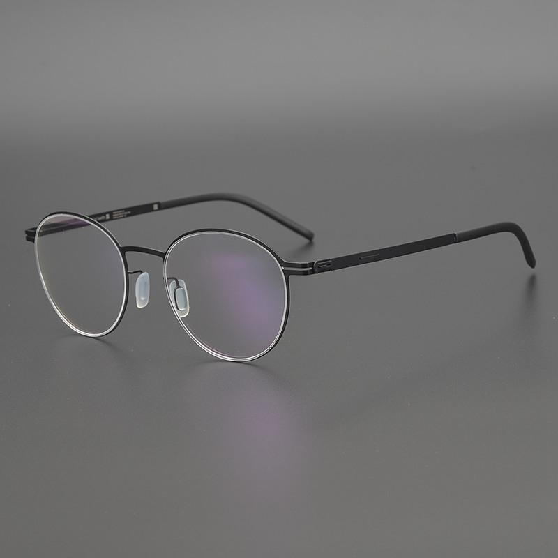 المسمار خالية تصميم نظارات خفيفة للغاية الرجال النظارات الجولة التيتانيوم الإطار الألمانية والنساء البصرية النظارات الطبية الإطار