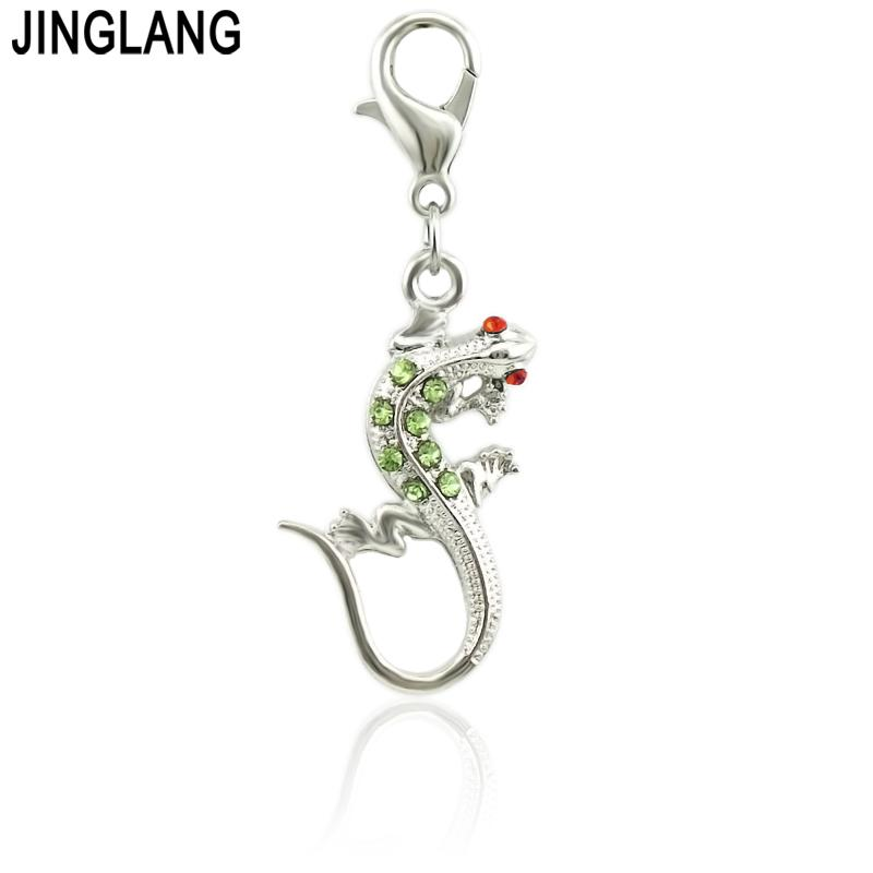 wholesale DIY accessory zinc alloy Mixed Color Enamel Gecko Hang Pendant, Hang Charm Fit Diy Phone Strips 50 Psc