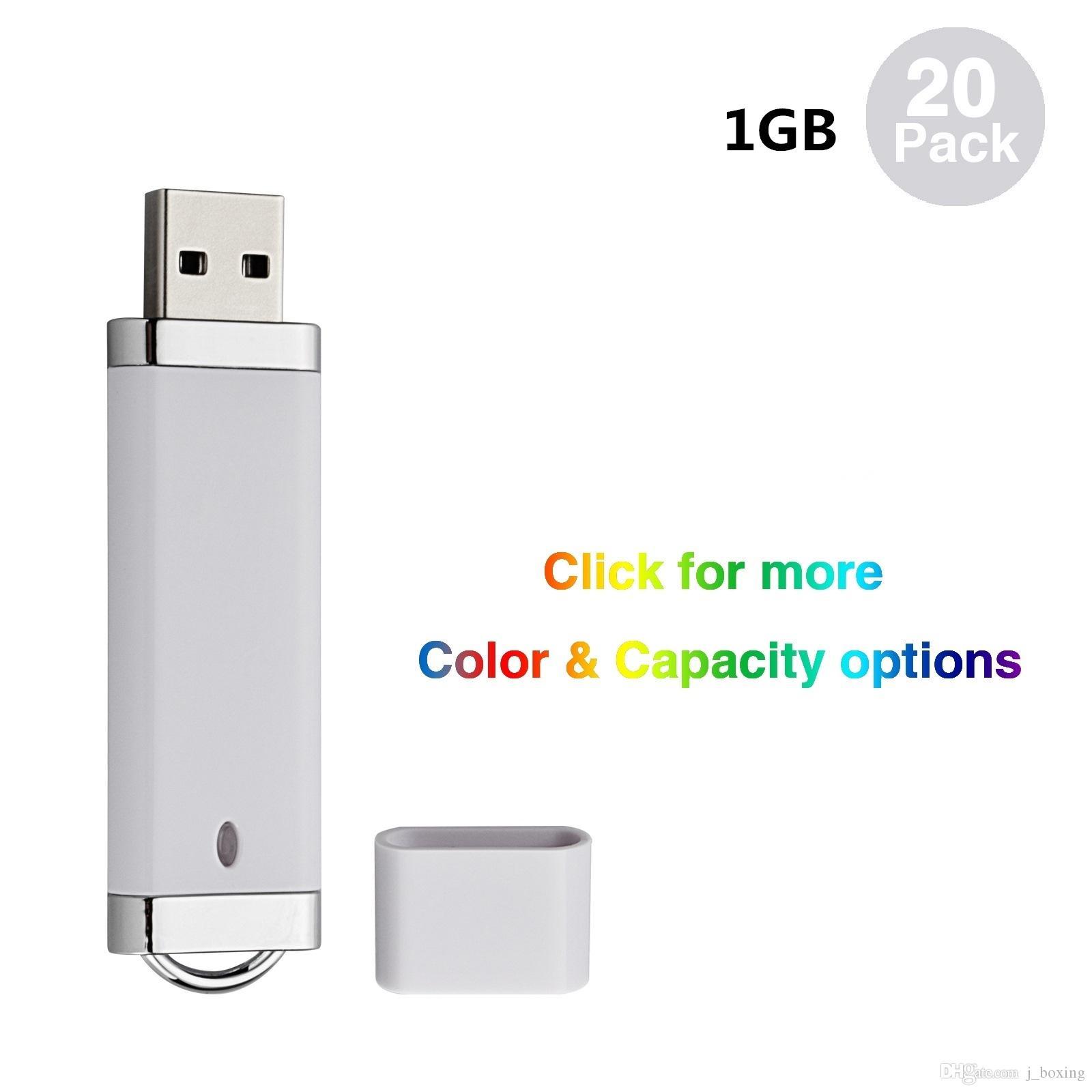 20 팩 화이트 라이터 모델 64메가바이트-32 기가 바이트 USB 2.0 플래시 컴퓨터 노트북 엄지 저장 LED 표시를위한 플래시 펜 드라이브 메모리 스틱 드라이브