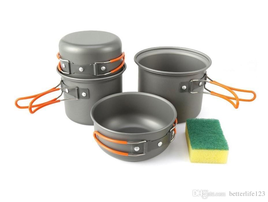 4 unids / set Vajilla al aire libre Portátil Vajilla Portátil Senderismo Camping Utensilios de cocina mejor apta para 2-3 persona Picnic Pot Potable Pots