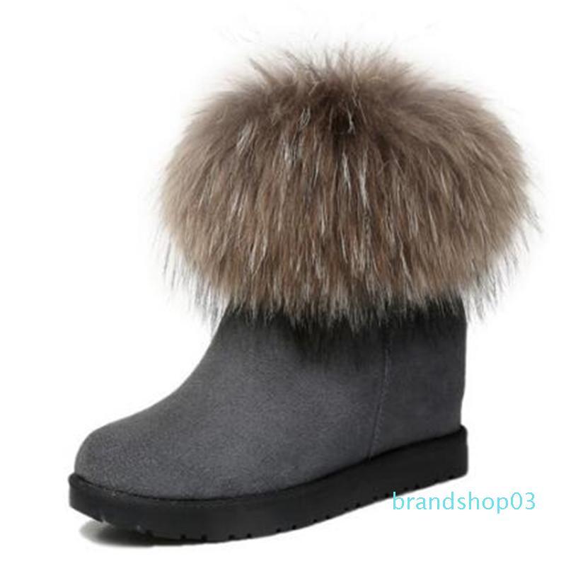 Hot Sale-2019 New botas de inverno Aumento Dentro Mulheres sapatos de salto alto botas cabelo Fox Matte Couro neve Moda mulheres sapatos