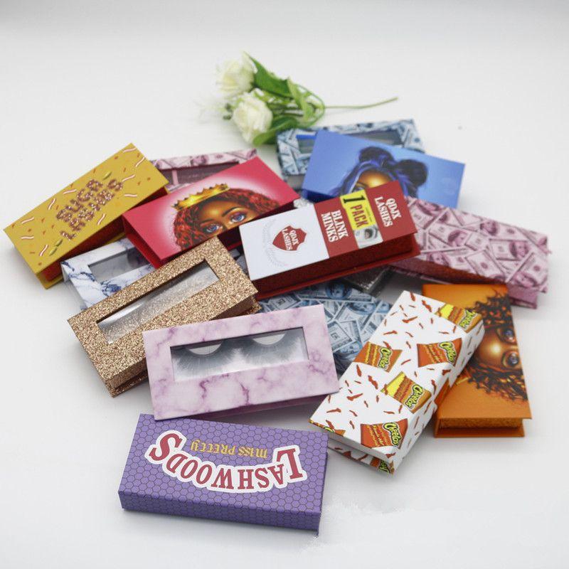 3D Mink Eyelash Package Boxes Rectangular False Eyelashes Packaging Empty Eyelash Box Case Creative Printing Lashes Box Packaging RRA3257